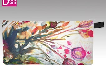 Pencil or makeup case, abstract watercolor print inspiration algae blooms
