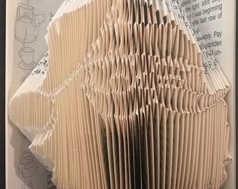 Folded Book Art- Santa