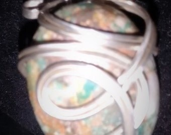 Turquoise stone and Argentium Silver Bracelet