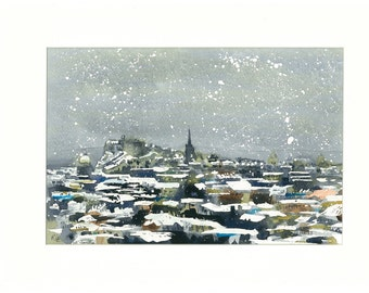 High Quality Print - Snowy Edinburgh