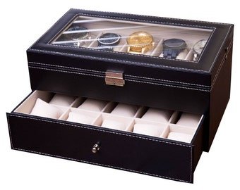 20 Slot Watch Case, Watch Box for Men, Watch Display Collector Piece, Jewelry Organizer, Watch Boxes, XL Slots, Best Man Gift for Christmas