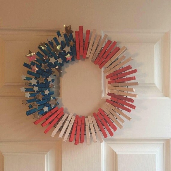 Homemade Wreath, Patriotic Wreath, Veterans Day, Memorial Day, Fourth of July, Homemade Wreaths, Red, White and Blue,  New Home Gifts