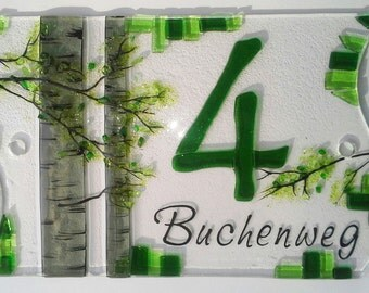 """House number made of glass """"Beech"""""""