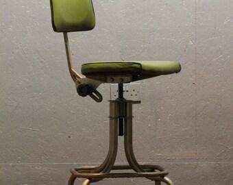 Industrial chair. Original Leabank green industrial chair