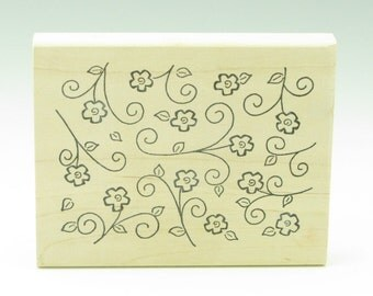 Floral Rubber Stamp Block, Daisy Background with Swirl Leaves, Peddler's Pack 2008, Scrapbook Supply, Clay Impression Supply