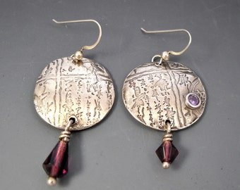 Fine Silver (PMC) Asian Round Earrings with Amethyst CZ and Drop Bead Earrings KHE1530