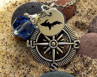 Compass Necklace. Boater jewelry, Upper Michigan, UP, Yooper, Upper Peninsula, Compass, Birthstone,compass charm, state charm, compass charm