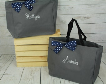 5 Personalized Bridesmaids Gift Tote Bags Monogrammed Tote, Bridesmaids Tote, Personalized Tote Wedding Bag, Bridesmaid Gift Bags