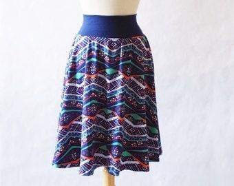 Size SMALL Women's Skirt Patchwork print Market Skirt Full Aline Skirt stretch Cotton Jersey Swing Skirt knee length twirl skirt