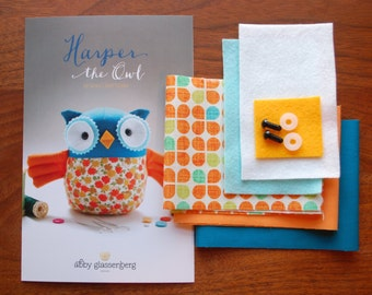 Owl Kit and sewing pattern. Sewing kit. Plushie kit. Sew your own softie kit. Woodland owl sewing pattern and kit. Sew it yourself owl.