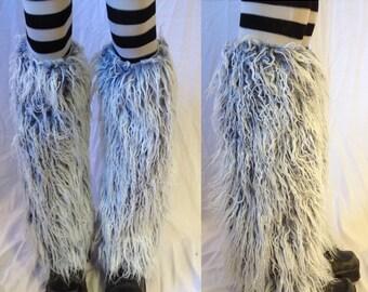 FLUFFIES Gray Mongol Straight Leg Halloween Festival faux fur Playawear rave Burningman style fakefur Legwarmer Bootcovers Ships Next Day