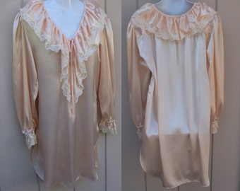 80s Pink Satin Ruffle Lace Nightgown / Vintage Sabrina Victorian Pearly Beaded Lace Nightshirt  // size Med - Lge