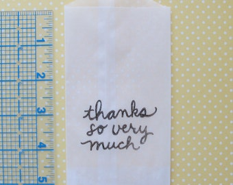 10 Thank You Stamped Small Glassine Bags 3 x 5.5 Inch | Waxed Paper Wedding and Party Favor Gift Bags