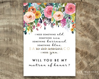 Will you be my MATRON of HONOR Card |  Size A7 or 5x7, Flat and Folded Card | Printable PDF, Instant Download