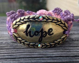 Micro-Macrame Beaded Cuff Bracelet - Hope