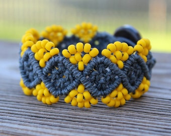 Micro-Macrame Beaded Hemp Cuff Bracelet - Bright Yellow with Glossy Multicolored Beads
