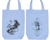 Mermaid La Luxure Organic Cotton Two Bottle Wine, Liquor and Growler Bottle Tote Bag