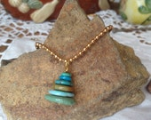 Natural Turquoise Cairn Necklace Pendant Earthy Rustic Nature Jewelry