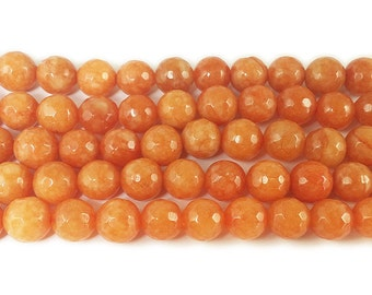 Orange Jade Faceted Gemstone Beads
