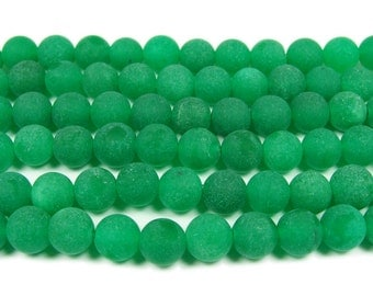Green Jade Matte Round Gemstone Beads