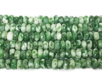 Green Spot Jasper Faceted Rondelle Gemstone Beads