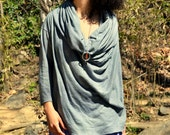 FALL SAMPLE SALE. The Deep Cowl Pullover in Organic Hemp Jersey. Ready to ship. Size Small/Medium in Charcoal.