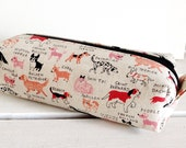 Long box pouch -Natural dog in pink