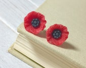 Red Poppy Stud Earrings, Red Poppy Studs, Red Flower Studs, Stainless Steel Studs, Red Floral Studs