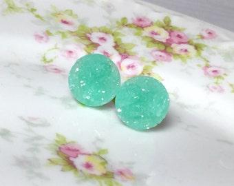 Mint Green Druzy Studs, Pastel Green Stud Earrings, Mint Green Drusy Studs, Druzy Jewelry, Surgical Steel Studs, KreatedByKelly