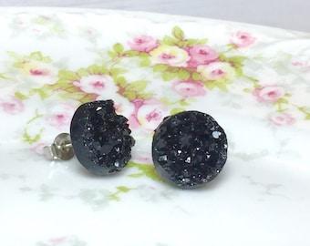 Black Druzy Studs, Celestial Night Studs, Black Stud Earrings, Black Drusy Studs, Druzy Jewelry, Surgical Steel Studs, KreatedByKelly (SE2)