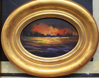 Sunset Over the Lake  oil painting Barbara Haviland Barbsgarden Texas Artist