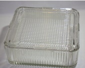 HALF OFF Vintage clear ribbed glass refrigerator storage box, glass refrigerator box, heavy glass box, vintage glass box, vintage glass, sto