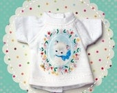 SAMPLE SALE / Vintage Kitty with Flower Border Tee T-Shirt for Blythe