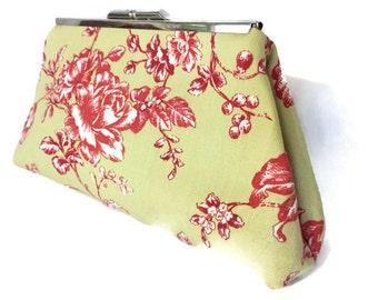 SALE!! Handmade Lime Toile Clutch Dupioni Silk Lining Snap Shut Bridesmaid USA Purse Handbag