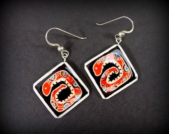 SNAKE EARRINGS Aztec design - square earrings - red earrings - ostrich eggshell jewelry