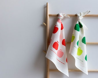 Screen Printed 'Apples' Tea Towel on White Linen - Pink & Burnt Orange or Two-tone Green Ecofriendly Ink