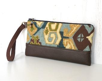 Tribal Wristlet Clutch, Zipper Wrist Pouch, Southwest Fabric Clutch Wallet in Green, Blue, Tan and Brown