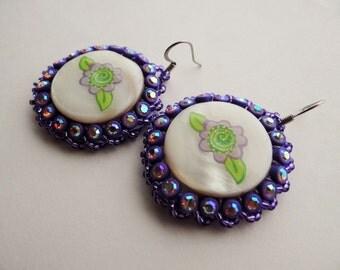 Purple Flower Beaded Shell Earrings