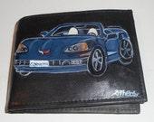 Chevrolet Corvette Custom Hand Painted Men's Leather Wallet Any Car Model