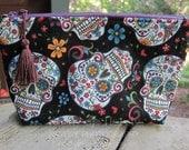 Zippered Pouch | Makeup Bag | Lined Zipper Bag | Cute Skull Print Fabric | Sugar Skulls Bag | Small Gift Under 20 | Camera Accessory Bag