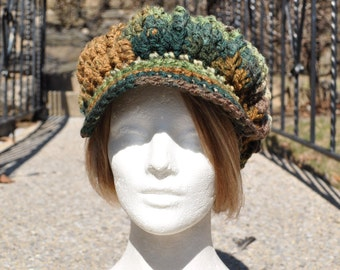 Brown and Green Crocheted Hat - Crocheted Newsboy Hat with Brim - Women's Hat - Winter Accessories - Boho Hat