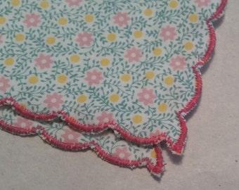 Floral Handmade Ladies Handkerchief Scalloped Edge - Pink Green and Yellow Flowers Hankie - Customizable - Wedding Feminine Dainty Gift