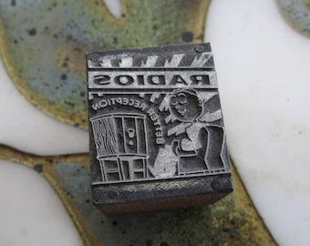 Radios Better Reception Vintage Letterpress Printers Block