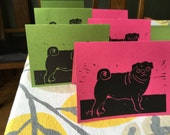 Six Pug Note Cards, green and pink mix
