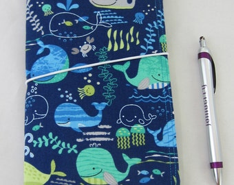 Special Order Whales FABdori -Fabric Travlers Notebook- Regular Size; Fauxdori: Midori Style Notebook- Reserved for mariedecarabas