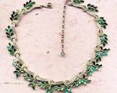 Vintage glittering green choker, holiday necklace, choker, necklace, faux diamonds, vintage, gift for her, fancy necklace, vintage choker