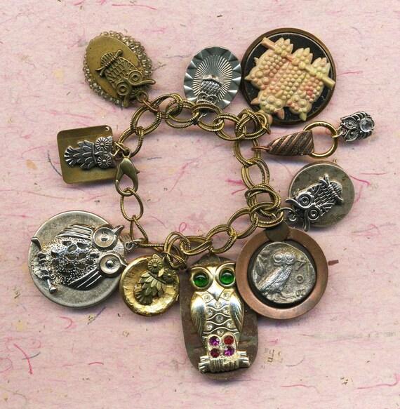 The Owl Charm Bracelet, assemblage art bracelet, art bracelet, OOAK, gold owl bracelet, unique gift, gift for her, owl lover, owl jewelry