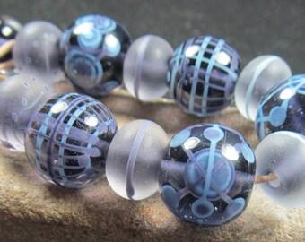 African Violet lampwork bead set