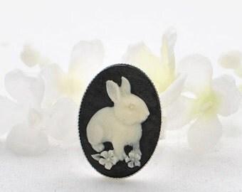 Bunny Cameo Rabbit Ring - Rabbit Love - Bunny Ring - Bunny Rabbit Jewelry - Bunny Jewellery