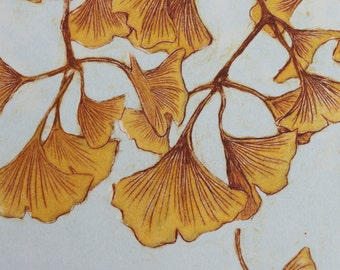 Ginkgo 4 - 7 x 8.5 inch drypoint monoprint of Ginkgo leaves - OOAK - Original art - yellow, blue, orange